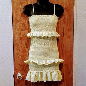 Forever 21 Pale Greenish Yellow Ruffle Tube Dress